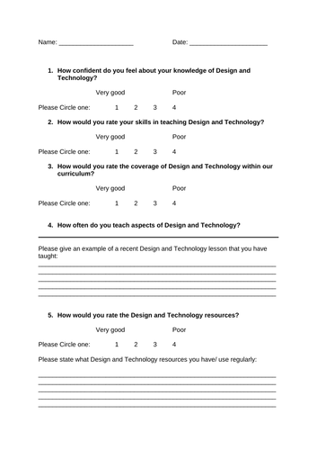 Design and Technology staff audit/ questionaire