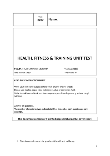 Health, Fitness & Training Unit Test & Answers