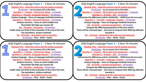 AQA English Language Exam Timings/Key Information Credit Card