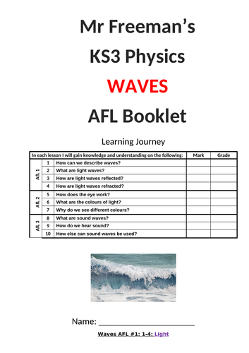 KS3 Waves AFL booklet with mark scheme