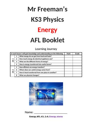 KS3 Energy AFL booklet with mark scheme