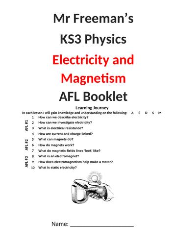 KS3 Electricity and Magnetism AFL booklet with mark scheme