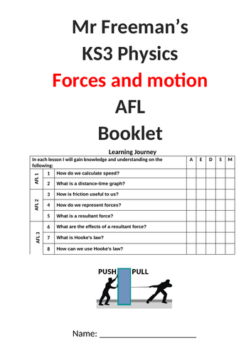 KS3 Forces and Motion AFL booklet with mark scheme