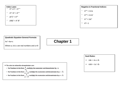 A-level Maths Year 1 Pure Revision