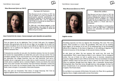 Literary Text- A Level French- Nina Bouraoui- Worksheet