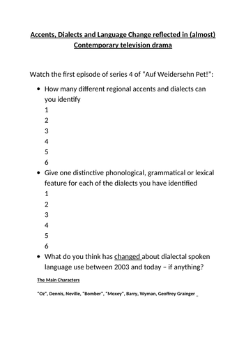 Accents and Dialects - Auf Weidersein Pet