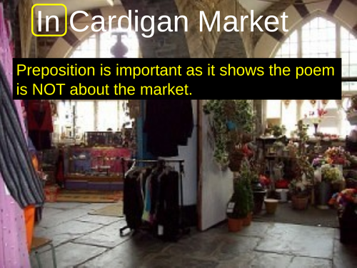 WJEC GCSE poetry 2021 - 'In Cardigan Market' by Brian Morris  PPT