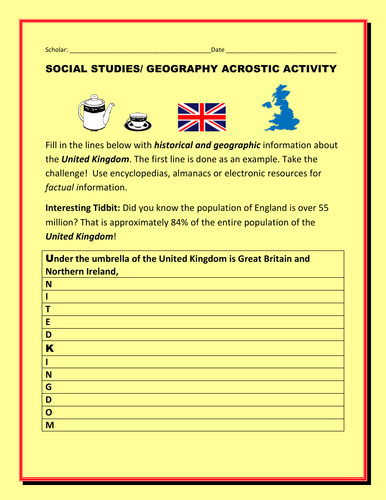 HISTORY/ GEOGRAPHIC  ACROSTIC ACTIVITY