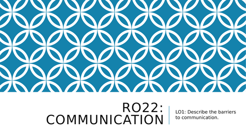 RO22 Communication Health & Social Care Barriers