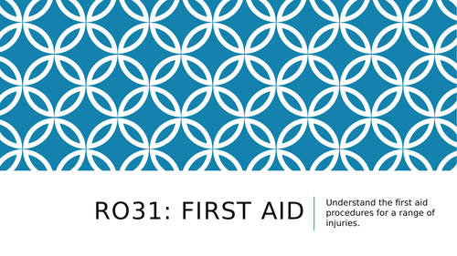 First Aid LO1 & LO2 Health and Social Care RO31