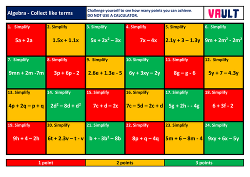 Algebra Revision Mats Bundle