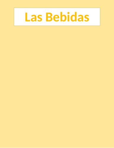 Bebidas (Drinks in Spanish) Sudoku