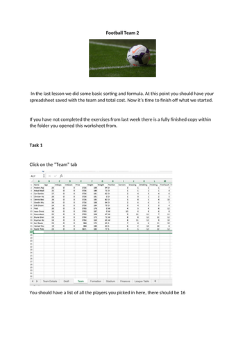 Excel Football Manager part 2