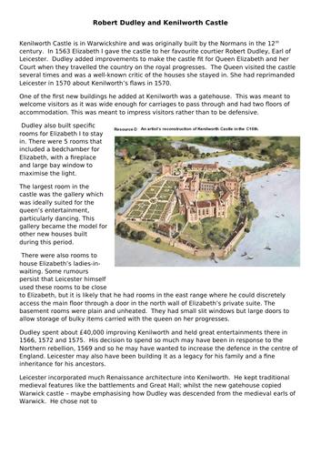 AQA 8145 Elizabeth -Lesson 2 Kenilworth 2021 - how did Dudley change Kenilworth Castle?