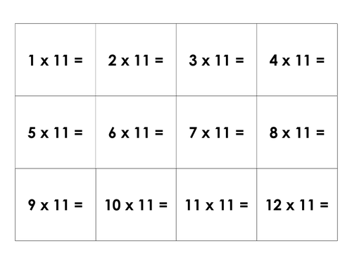 11 times table fact family matching cards