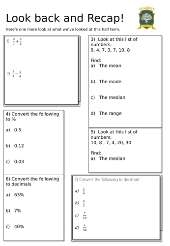 Revision Sheet- Fractions and averages