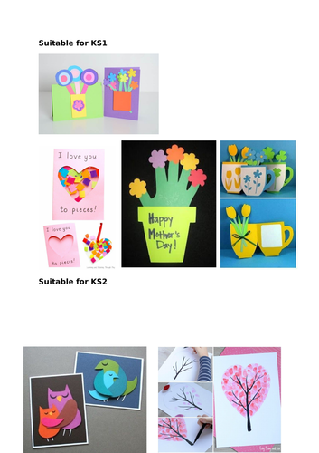 Mother's Day Card Ideas for KS1 and KS2