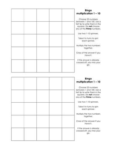 Bingo - multiplication 1 - 10 - no prime numbers