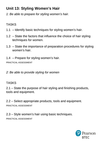 BTEC - Unit 13 Women's Styling - Task Sheet