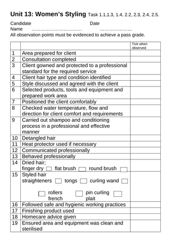 BTEC - Unit 13 Women's Hair Styling - Assessment Sheet