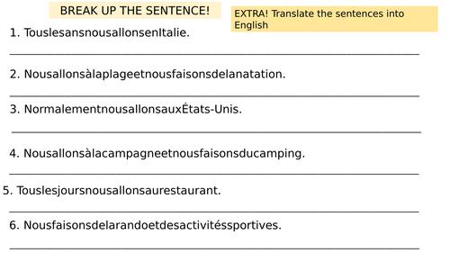 KS3 French Les Vacances (Holidays) full lesson & sentence builder