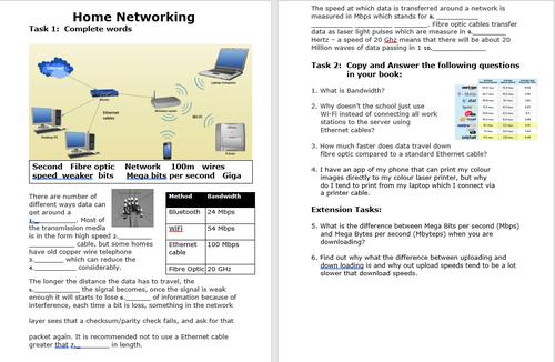 Transmission media : Speeds, types, bandwidth  Missing word activity