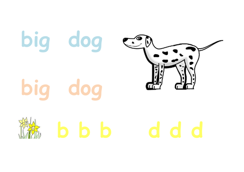 Phonics - big dog writing sheet