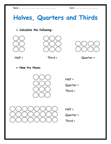Halves, Quarters and Thirds  Worksheets