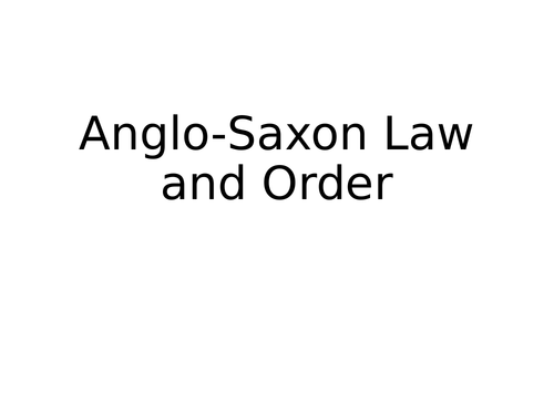 Anglo-Saxon Crime and Punishment