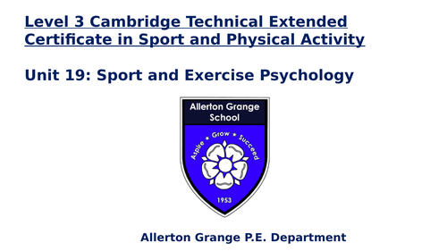 Cambridge Technical Sports Psychology Unit 19 LO5 Mental Health and Wellbeing
