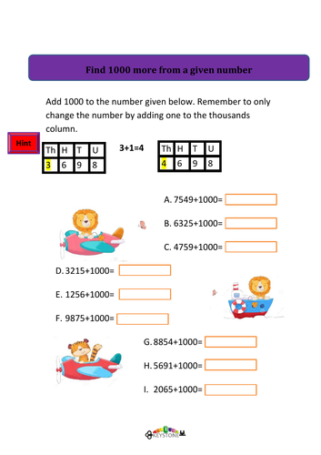 Finding 1000 more or less than a given number