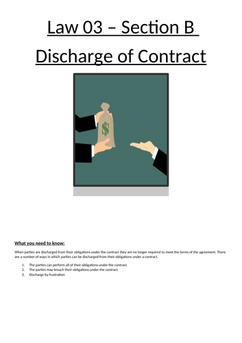 Discharge of Contract - full booklet for unit of work