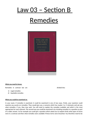Remedies for Contract Law - full booklet