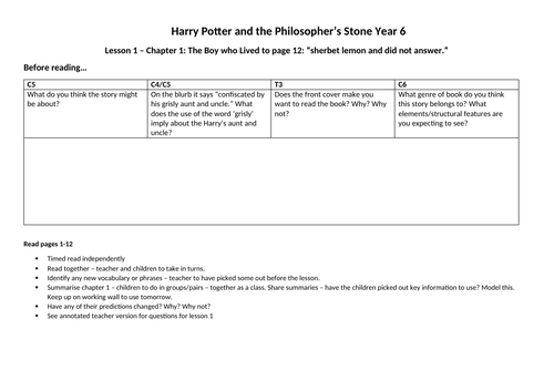 Harry Potter  - Guided Reading (Year 6)