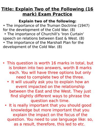 Edexcel 'Explain Importance of...' 16 mark Q Support (Cold War)