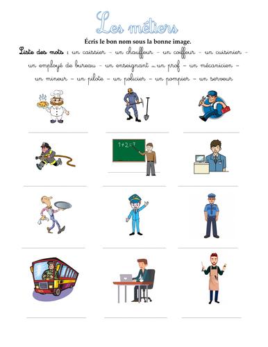 Exercice : les métiers (jobs), débutants A1.1 - A1 (French for beginners)