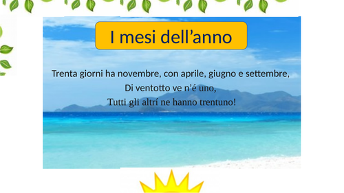Italian for beginners PPT 2 Birthdays Months I Mesi + Basic Numbers