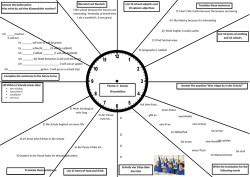 GCSE German Revision Clock - School