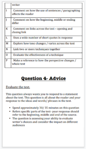 AQA English Language Paper 1 Section A - Revision guide