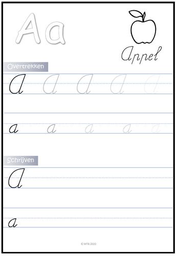 Letters schrijven en overtrekken Nederlands (Dutch)