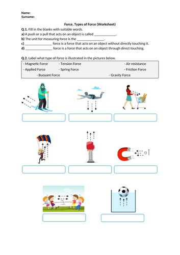 Distance Learning | Force, Types of Force - Worksheet