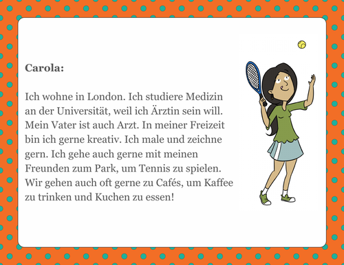 German Character Cards/8 Short Readings on Hobbies/Family/School Subjects/Sports