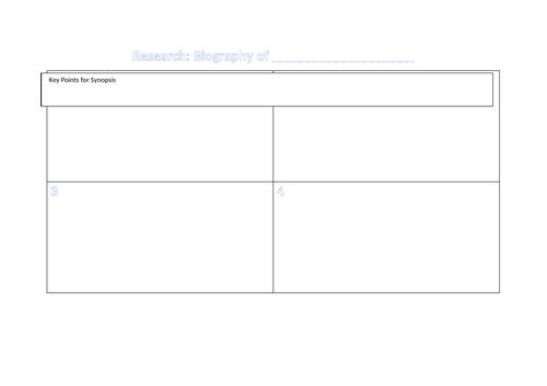 Research grid for biography