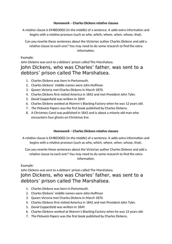 Charles Dickens relative embedded clauses homework