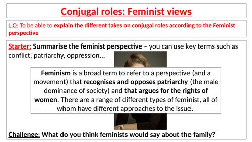 AQA Sociology GCSE - Families - Conjugal roles - Feminist views