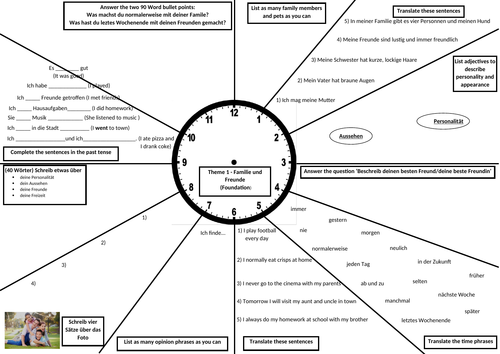 GCSE German Revision Clock -  Family and Friends