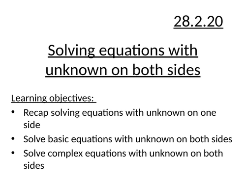 Solving linear equations unknown both sides