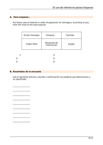 AQA Paper 1 - Ciberespacio reading comprehension and summary question practice