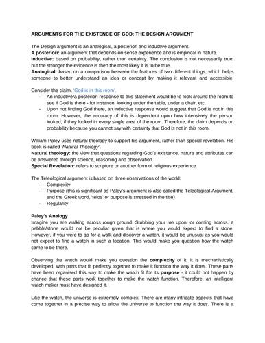 Design Argument Revision AQA A Level