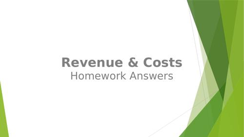 Revenue & Costs Homework Sheet